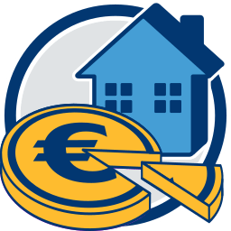 2D Icon Haus Geld Tortengrafik