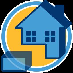2D Icon Grafik Haus Aufteilung