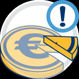 2D Icon Geld Tortengrafik Ausrufezeichen