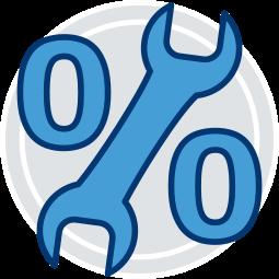 2D Grafik Icon Prozentzeichen Schraubenschlüssel