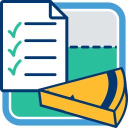 2D Grafik Icon Checkliste Stück Tortengrafik