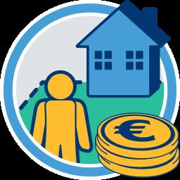 2D Icon Grafik Haus Grundstück Immobilie Person Geld Euro