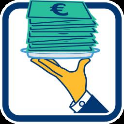 2D Grafik Icon Stapel Euroscheine auf Silbertablett