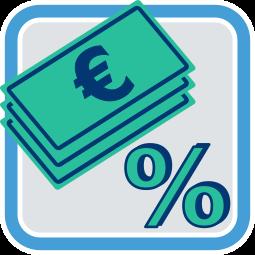 Icon Grafik Geld und Prozentzeichen