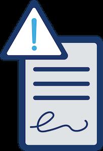 dokument ausrufezeichen gefahrendreieck unterschrift