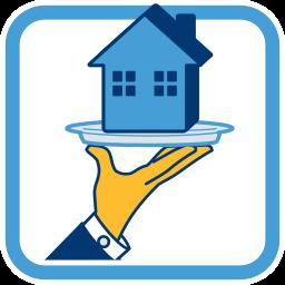 2D Icon Grafik Immobilie auf Silbertablett
