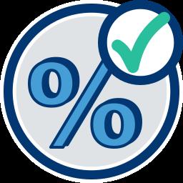 Icon Grafik Prozentzeichen gecheckt