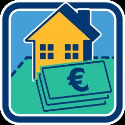 Grafik Icon Haus Immobilie Grundstück Geld