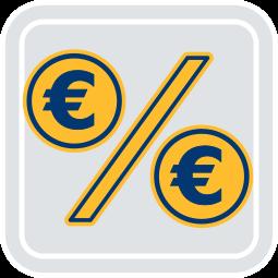 2D Icon Grafik Prozentzeichen Eurozeichen