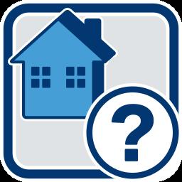 Grafik-Icon Haus und Fragezeichen