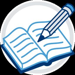 Grafik-Icon Grundbuch und Stift