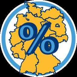 Grafik Icon Karte Deutschland Prozentzeichen Grunderwerbssteuer