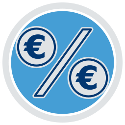 Grafik Icon Prozentzeichen Eurozeichen