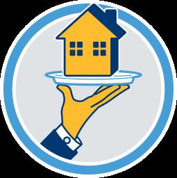 Grafik Icon Immobilie Haus auf Silbertablett