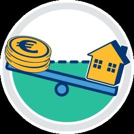 Grafik Icon Haus und Geld auf Wippe Verkehrswert