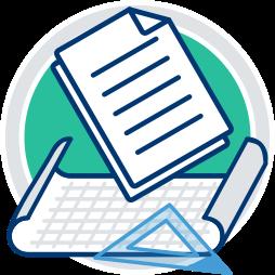 Grafik Icon Unterlagen recherchieren