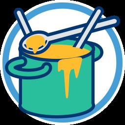 Grafik Icon Topf Brei Kochlöffel - Viele Köche verderben den Brei