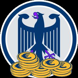 2D Grafik Icon Bundesadler Geld Münzen