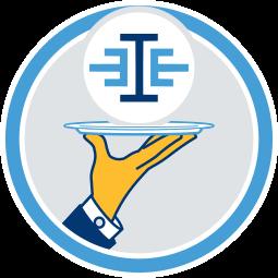 Grafik Icon immoeinfach.de Logo auf Silbertablett