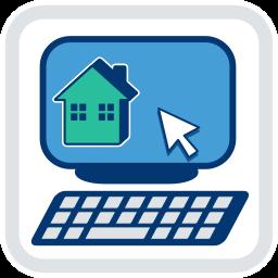 2D Grafik Icon PC Bildschirm mit Immobilie