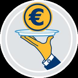 eurozeichen silbertablett serviert