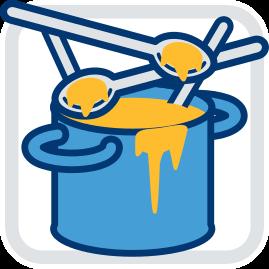Grafik Icon Topf mit vielen Löffeln