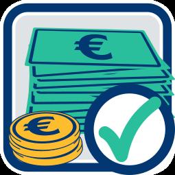 Grafik Icon Geld abgehakt