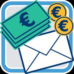 2D Grafik Icon Geld und Briefumschlag