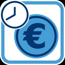 Grafik Icon Euromünze Uhr Zeit