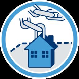 Icon Grafik Haus Immobilie Grundstück Kette gebrochen