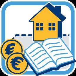 Icon Grafik Immobilie Grundbuch Geld