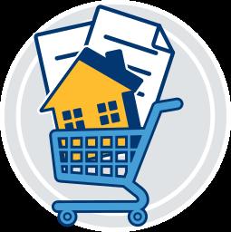 2D Icon Grafik Einkaufswagen Dokumente Haus