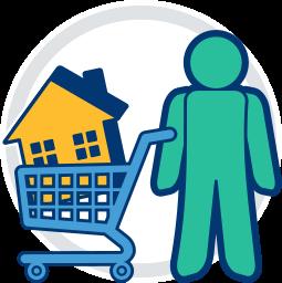 2D Grafik Icon  Immobilie in Einkaufswagen