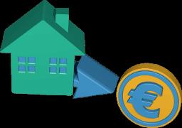 Icon 3D Grafik Haus Pfeil Euro Zeichen