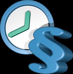 Grafik 3D Icon Uhr und Paragraphen Zeichen