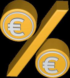 Icon 3D Grafik Prozentzeichen mit Euro Zeichen