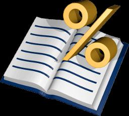 Grafik 3D Icon Grundbuch Prozent Zeichen