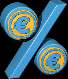 3D Icon Grafik Prozentzeichen mit Eurozeichen