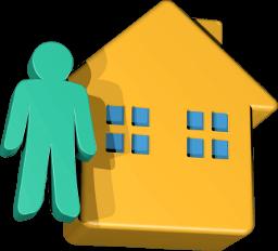 Grafik Icon 3D Haus Mensch Figur