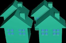 3D Grafik Icon vier Häuser