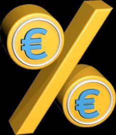 3D Grafik Icon Prozentzeichen Eurozeichen