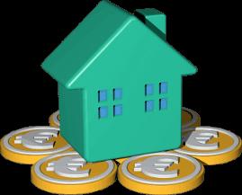 Grafik Icon 3D Haus auf Euromünzen