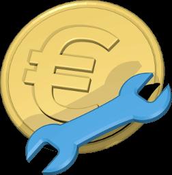 Icon Grafik Euromünze Schraubenschlüssel