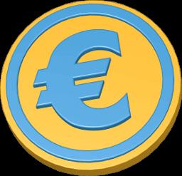 3D Grafik Icon Geld Eurozeichen