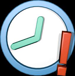 3D Icon Grafik Uhr mit Ausrufezeichen