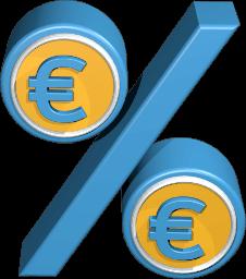 Immobilien verkauf steuer 3D Icon Grafik Prozentzeichen mit Euro Zeichen