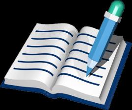 Grafik Icon 3D Grundbuch mit Stift