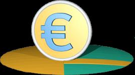 3D Icon Grafik Grundstücke mit Weg und Eurosymbol