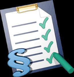 Grafik 3D Icon Checkliste und Paragraphenzeichen