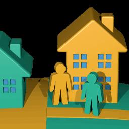Icon 3D Grafik zwei Nachbarn - Weg übers Grundstück